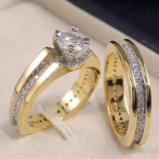 高品質 AAAダイヤジルコニアCz 2連ゴールドリング指輪(リング(指輪))