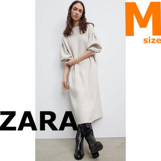 ZARA - 【新品・未着用】ZARA オーバーサイズニットワンピース パフスリーブワンピース