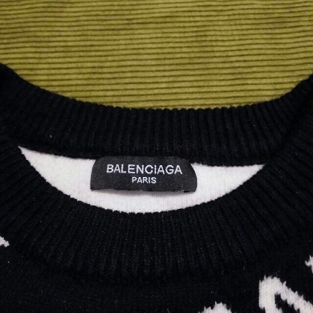 Balenciaga(バレンシアガ)のBALENCIAGA バレンシアガ19SS オールオーバーロゴクルーネックニット メンズのトップス(ニット/セーター)の商品写真