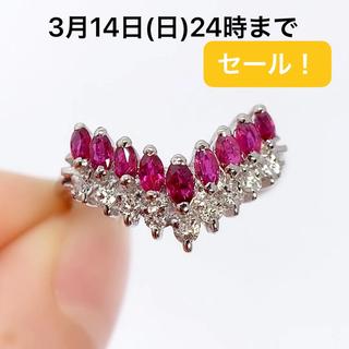 PT900 ルビー 0.62 ダイヤモンド 0.19 リング 指輪(リング(指輪))