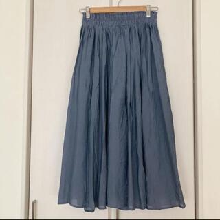 春夏 くすみブルー ロングフレアスカート L タグ付き未使用品