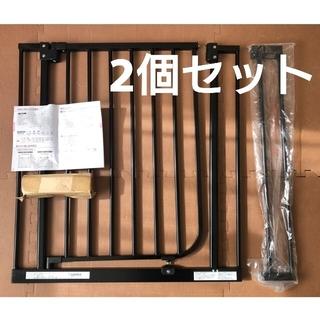ニホンイクジ(日本育児)の日本育児 ベビーゲート ブラック 2個セット(ベビーフェンス/ゲート)