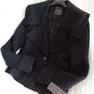 フォクシー(FOXEY)のフォクシー ブラックジャケット 42 お袖のニットが素敵です(その他)