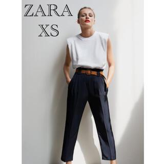 ZARA - ラスト1 ZARA ベルト付きパンツ ハイウエストパンツ ハイライズパンツ