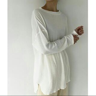 トゥデイフル(TODAYFUL)のTODAYFUL ダブルフェイススリットロングTシャツ 白ロンT(Tシャツ(長袖/七分))