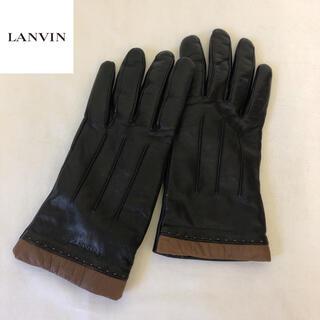 ランバン(LANVIN)の美品 LANVIN ランバン レザーグローブ 内側カシミア レディース(手袋)
