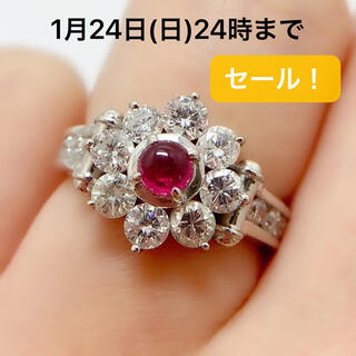 PT900 ルビー 0.37 ダイヤモンド 1.39 リング 花(リング(指輪))