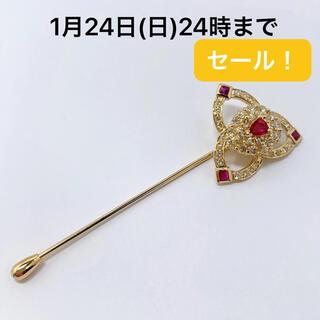 K18YG ルビー 0.27 ダイヤモンド 1.03 ピンブローチ(ブローチ/コサージュ)