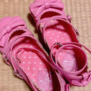 アンジェリックプリティー(Angelic Pretty)のPretty♡茶会靴♡濃いピンク♡LL(ハイヒール/パンプス)