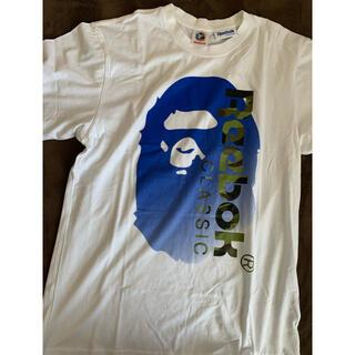 アベイシングエイプ(A BATHING APE)の激レアL! BAPE×Reebok猿顔Tシャツ白(Tシャツ/カットソー(半袖/袖なし))