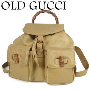 Gucci - オールド グッチ バンブー ハンドル 巾着式 リュックサック バックパック