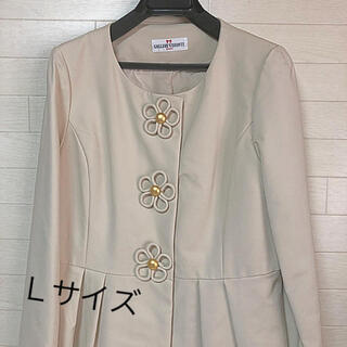 ギャラリービスコンティ(GALLERY VISCONTI)のお花モチーフパール飾りコート サイズ3 ギャラリービスコンティ 新品 (スプリングコート)