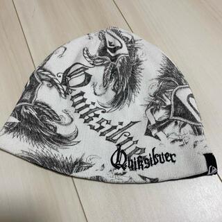 クイックシルバー(QUIKSILVER)の美品!クイックシルバー ニット帽 ニットキャップ ホワイト系(ニット帽/ビーニー)