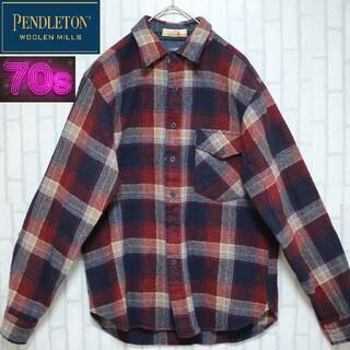 ペンドルトン(PENDLETON)の70s ペンドルトン USA製 ネルシャツ チェックシャツ ヴィンテージ(シャツ)