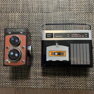 カルディ(KALDI)のKALDI ラジカセ缶とレフレックスカメラ缶セット(菓子/デザート)