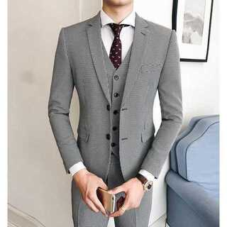 紳士 チェック柄スーツジャケット スーツメンズ 司会者 セットアップ zb341(セットアップ)