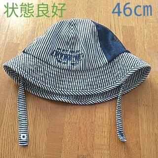 エフオーキッズ(F.O.KIDS)のひさし付き ストライプ ハット ベビー 帽子 46㎝ ネイビー(帽子)