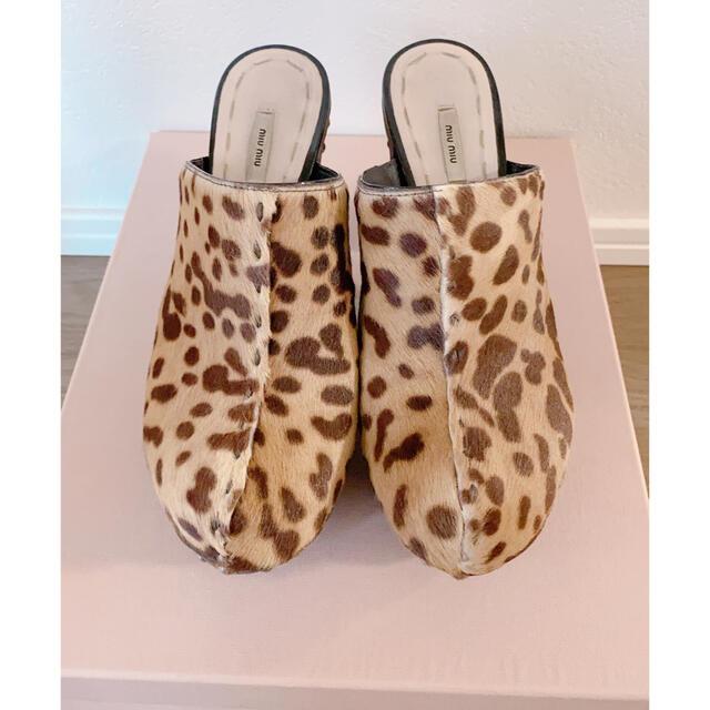 miumiu(ミュウミュウ)のミュウミュウ ヒョウ柄 サンダル 35.5 レディースの靴/シューズ(サンダル)の商品写真