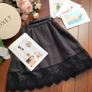 FOXEY - ♡フォクシー♡フラワーレーススカート コットンシルク♡グレー♡38♡