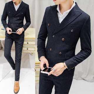 ストライプ ダブルスーツメンズ 紳士 スーツジャケット セットアップzb354(セットアップ)