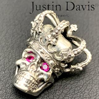 Justin Davis - [新品仕上済] ジャスティンデイビス スカル クラウン ルビー シルバー トップ