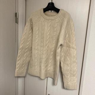 マーガレットハウエル(MARGARET HOWELL)のmhl アラン編みクルーネックニット サイズL 美品(ニット/セーター)