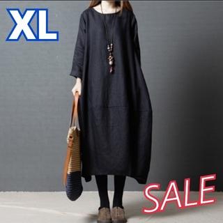 大人気 コクーンワンピース バルーンワンピース 韓国 マタニティ 黒 XL(ロングワンピース/マキシワンピース)