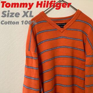 トミーヒルフィガー(TOMMY HILFIGER)の☆Tommy Hilfiger コットンニット Vネックセーター オレンジ XL(ニット/セーター)
