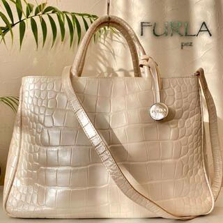 Furla - 極美品 FURLA フルラ 5万 クロコ型押し レザートートバッグ