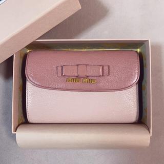 ミュウミュウ(miumiu)のmiumiu マドラス バイカラー ピンク リボン 財布 ミュウミュウ 美品 (財布)