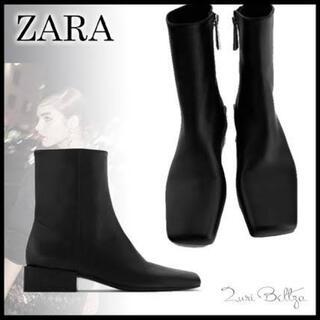 ZARA - ZARAスクエアトゥレザーブーツ