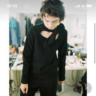 soduk ribbon knit top / black スドーク カットソー