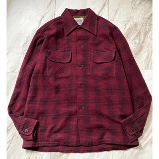 ペンドルトン(PENDLETON)のvintage 50s 60s ウール 赤黒 オンブレ シャドーチェックシャツ(シャツ)