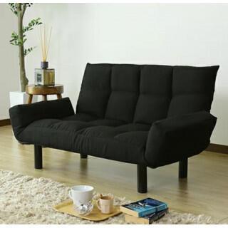 新品 人気ファブリック素材 リクライニングソファー ブラック(リクライニングソファ)