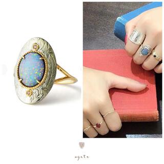 agete - 未使用♡agete♡ダブレットオパール&ダイヤモンド♡K10SVリング♡アガット