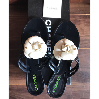 CHANEL - Chanel シャネル カメリア ラバーサンダル 37