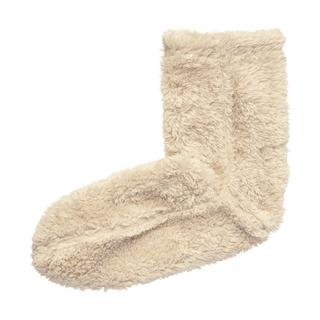 MUJI (無印良品) - 無印良品 ボアフリース ルームソックス ベージュ 靴下
