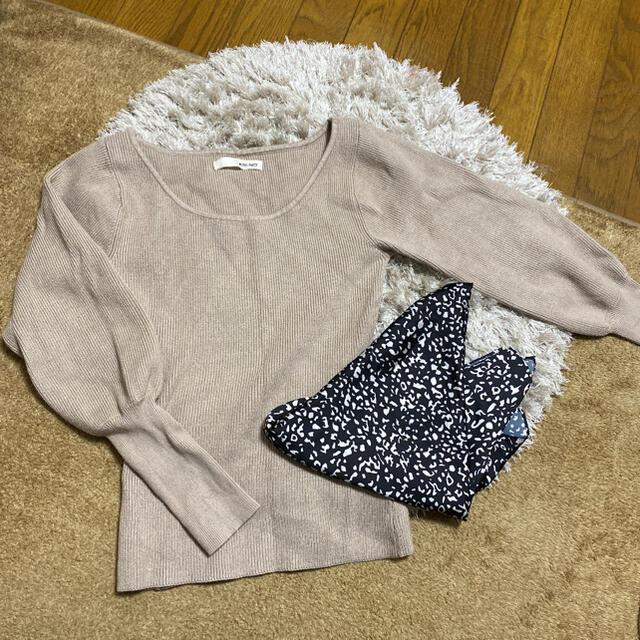 ROYAL PARTY(ロイヤルパーティー)のスカーフ付ニットトップス レディースのトップス(ニット/セーター)の商品写真