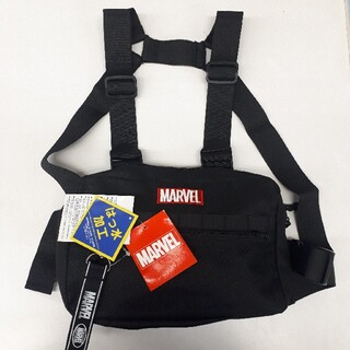 マーベル(MARVEL)の新品タグ付き 黒 ボックスロゴ マーベル チェストバッグ(バッグパック/リュック)