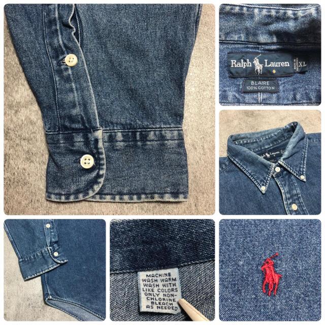 Ralph Lauren(ラルフローレン)のラルフローレン☆ワンポイント刺繍ロゴビッグデニムシャツ90s メンズのトップス(シャツ)の商品写真