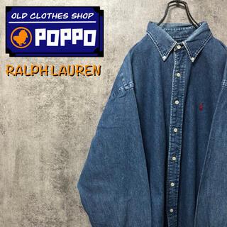 Ralph Lauren - ラルフローレン☆ワンポイント刺繍ロゴビッグデニムシャツ90s