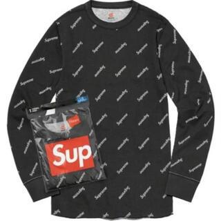 シュプリーム(Supreme)のSupreme Hanes Thermal Crew 黒 Mサイズ(Tシャツ/カットソー(七分/長袖))