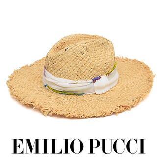 エミリオプッチ(EMILIO PUCCI)の美品❤️エミリオプッチ スカーフ ストロー 麦わら 帽子 ハット(麦わら帽子/ストローハット)