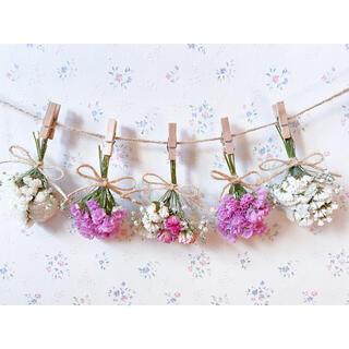 3種のピンクのバラとかすみ草のホワイトピンクドライフラワーガーランド♡スワッグ♡(ドライフラワー)