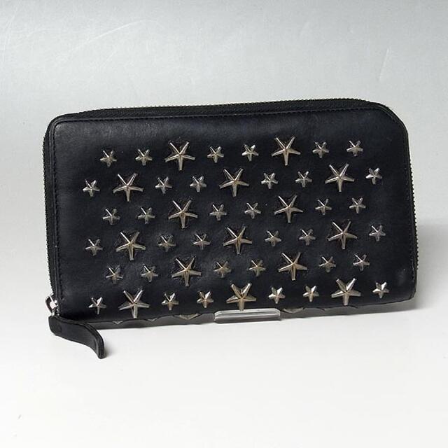 JIMMY CHOO(ジミーチュウ)の【ジミーチュウ】スタースタッズ ラウンドジップ長財布 ブラック レディースのファッション小物(財布)の商品写真