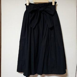 リボン付き膝丈スカート ひざ丈 / 黒 ブラック(ひざ丈スカート)