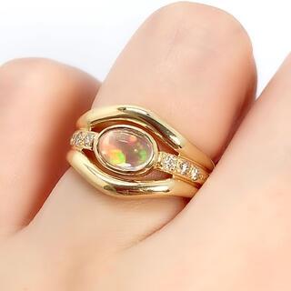 K18YG ウォーターオパール 0.86 ダイヤモンド 0.12 リング 指輪(リング(指輪))
