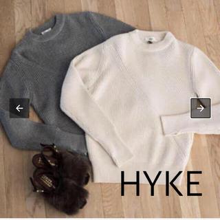 HYKE - HYKE ハイク リブクルーネックニット指抜き