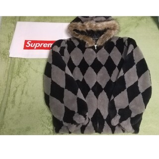 Supreme - Supreme Diamond Faux Fur Jacket grey