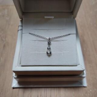 ヨンドシー(4℃)の4℃ スリーストーン ダイヤモンドK10ホワイトゴールド ネックレス(ネックレス)